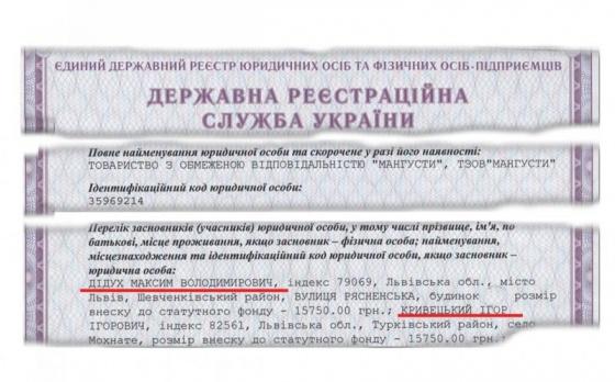 Максим Дидух (сын Вовы Морды) и Кривецкий вложили свои средства в «охранную» фирму «Мангусты»