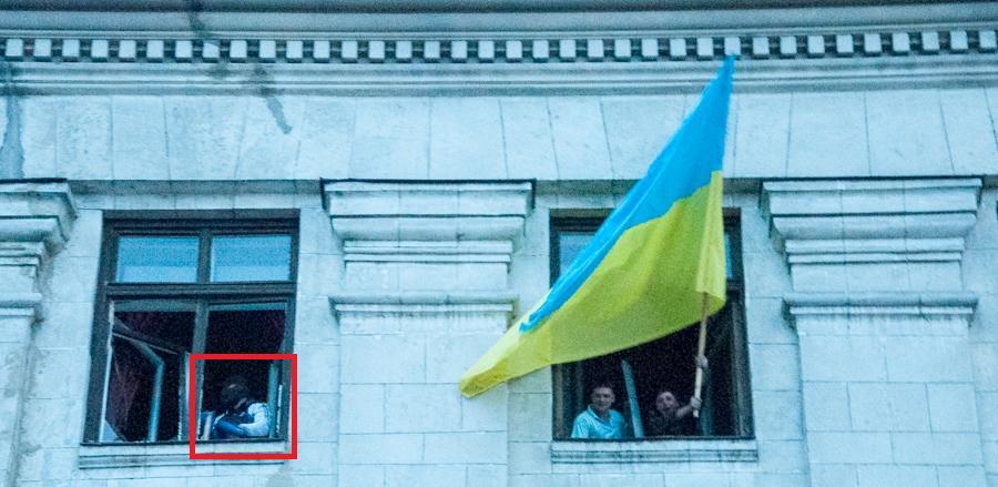 На фото некто Борис К. - предполагаемый убийца беременной женщины в Одессе, в Доме профсоюзов