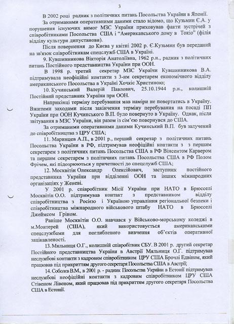 Агенты ЦРУ в украинской дипломатии - документ
