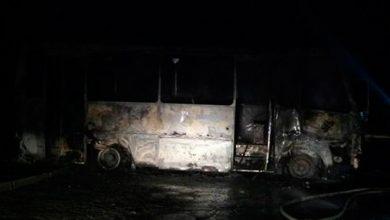 "Photo of В Запорожье сожгли автобус карбата ""Донбасс"""