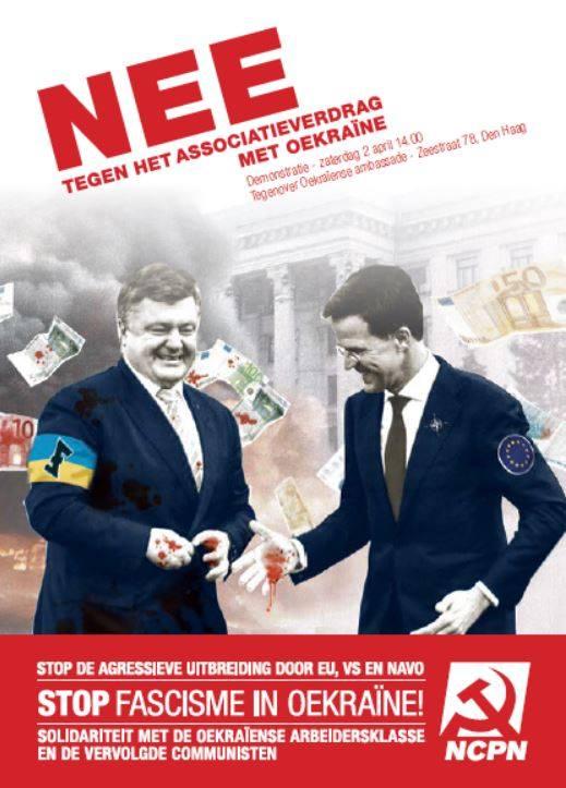 В Голландии появились листовки, на которых Порошенко олицетворяет украинский фашизм. Листовку выпустили голландские коммунисты