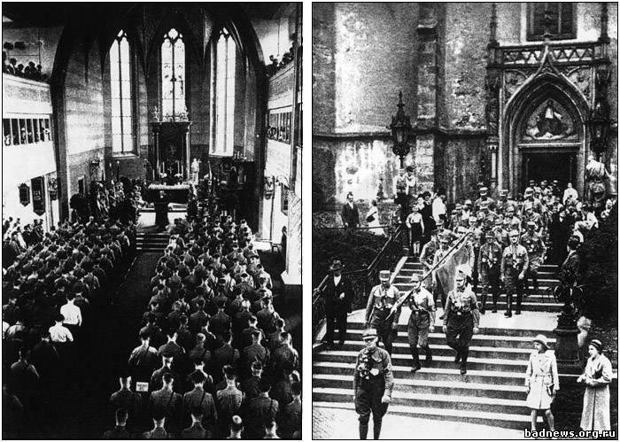 «Коричневый Собор» лютеран, пастыри одеты в фашистскую униформу