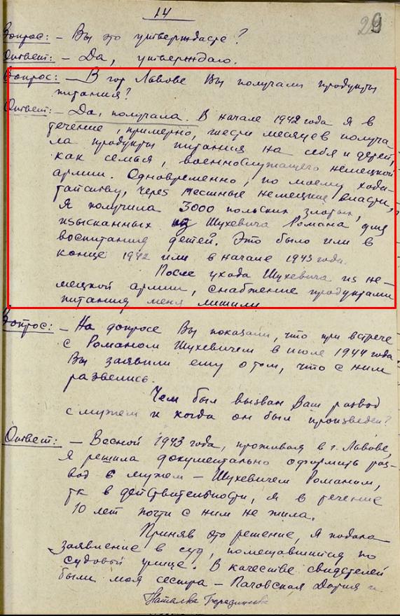 Жена Шухевича получала продукты как семья военнослужащего немецкой армии