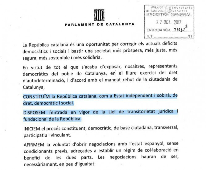 Парламент Каталонии провозгласил независимость от Испании