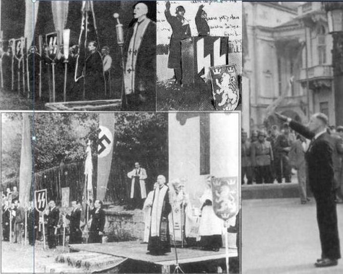 Парад рекрутов в СС «Галиция» во Львове. Гриньох на трибуне - униаты на службе СС, оуновцы дают присягу на верность Гитлеру. Соратник Гриньоха Евгений Побигущий у трибуны с подобострастным приветствием