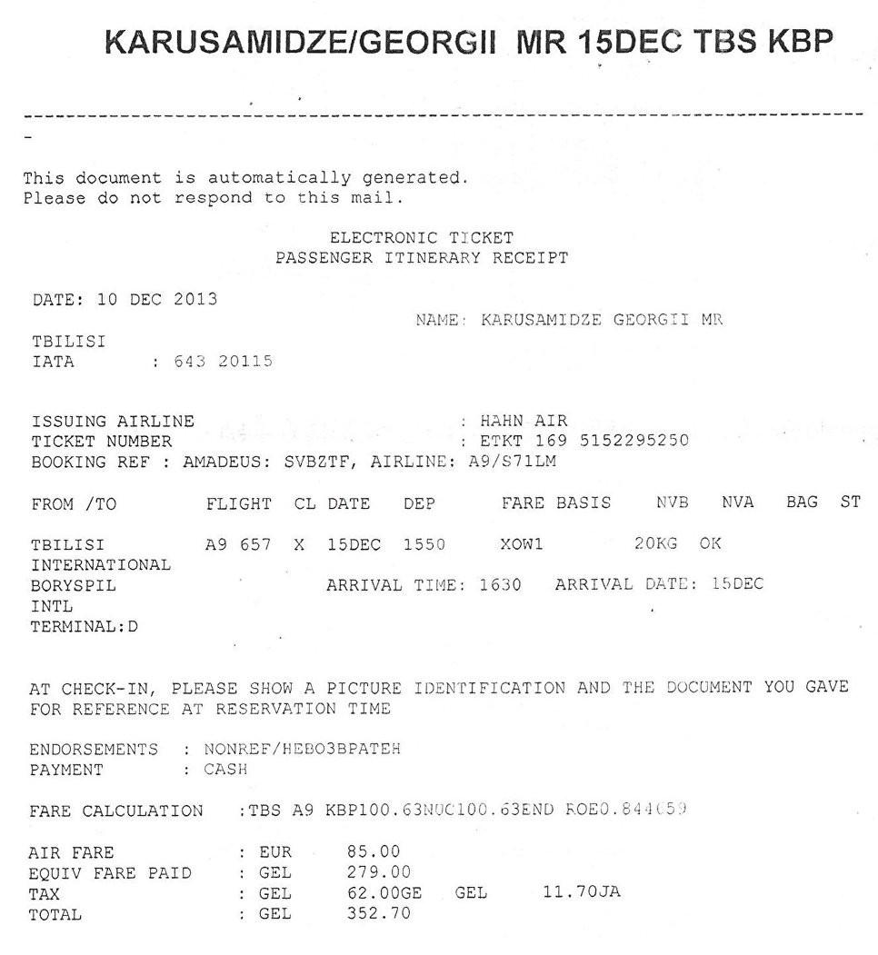 Электронный билет, подтверждающий прилет Александра Ревазишвили в Киев 9 января 2014 года. © Из личного архива
