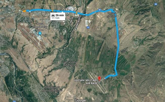 Центр Лугара находится в 17 км от базы ВВС США Вазиани в пригороде Тбилиси.