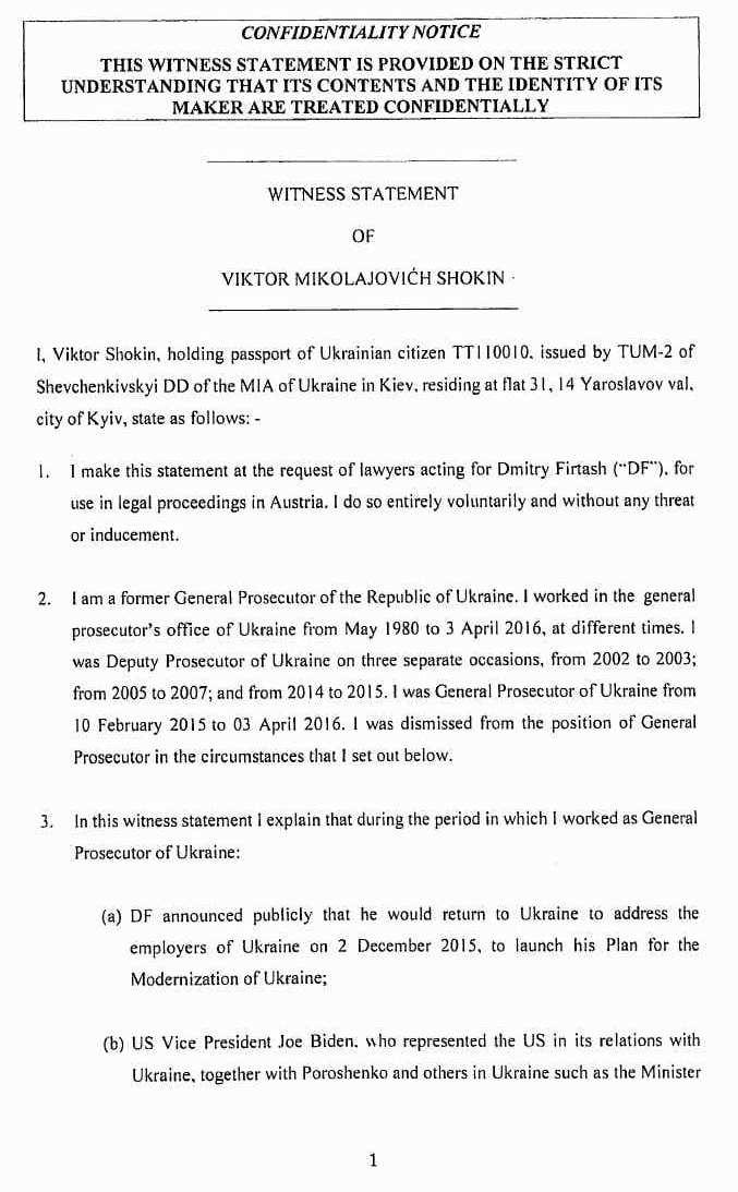 Опубликованы свидетельские показания украинского генпрокурора против Джо Байдена
