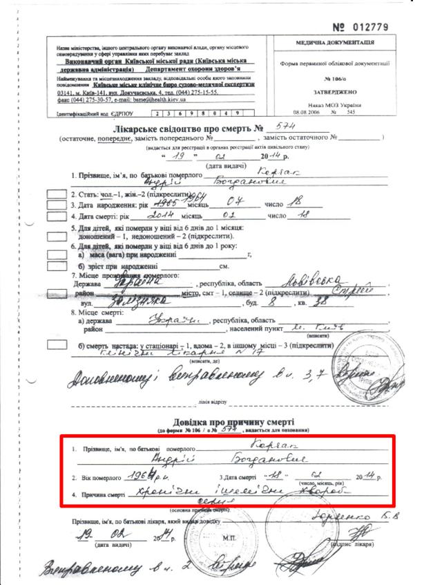 Андрей Корчак. Документ